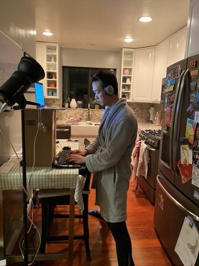 """During working from home, I have turned our kitchen into an office."""
