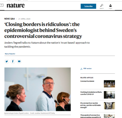 'Closing borders is ridiculous': the epidemiologist behind Sweden's controversial coronavirus strategy (Nature, 21 April 2020)