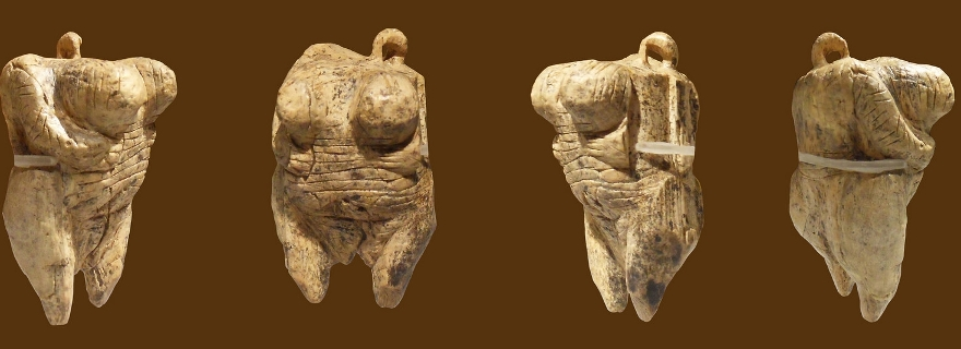 "Original Venus from Hohle Fels, mammoth ivory, Aurignacian, aged about 35-40000 years.  Discovered in September 2008 in the cave ""Hohler Fels"" in the Ach Valley near Schelklingen, Germany. Pictures were taken at Urgeschichtliches Museum, 89143 Blaubeuren, Germany, on 07/18/2010."