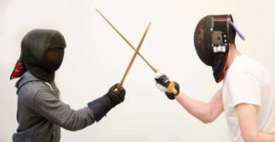 Old combat techniques were reenacted with replicas of Bronze Age swords.