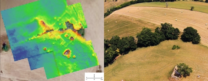 Site detected first by field survey. Preservation and extent is confirmed by geo-resistivity survey (structure visible in yellow/red; left) and drone imagery (right).