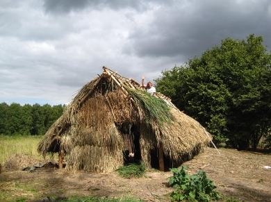 The thatching is virtually done.
