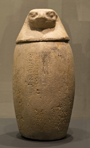 A canopic jar (a container for the internal organs of a mummy) that was  kept in the Anatomical Theatre at Leiden University and was later transferred to the RMO.  (RMO)