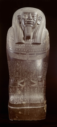 The mummy-shaped sarcophagus of Wahibreëmachet is so big that the front door of the National Museum of Antiquities  had to be removed before it could be transported to Los Angeles.