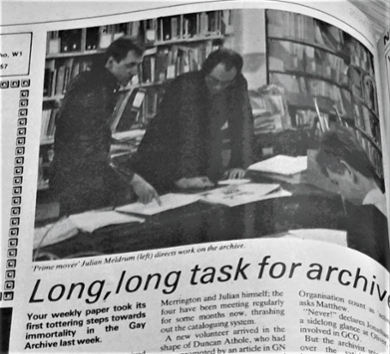 Long, long task for archive: article on Hall and Carpenter Archives in Capital Gay (24 July 1981)