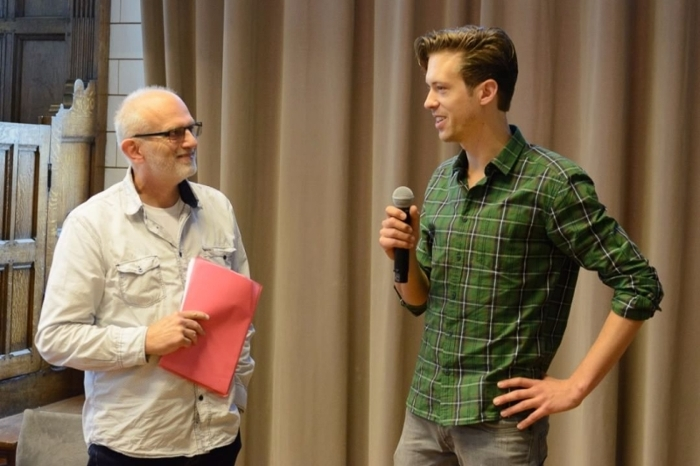 Still some disbelief... Robbert Visser (R) sharing his first thoughts on the prize with jury member Marius de Geus
